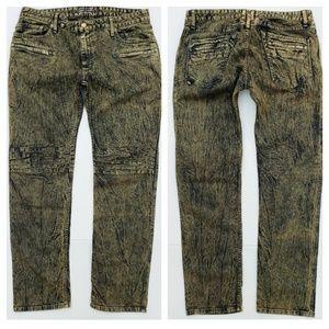 New ROBIN'S JEAN sz 38 MOTARD Slim Straight Jeans